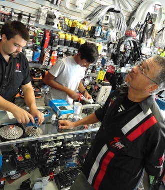 Brian Lucas of Off the Chain Bikes in Hollister, a bike shop for parts and service.